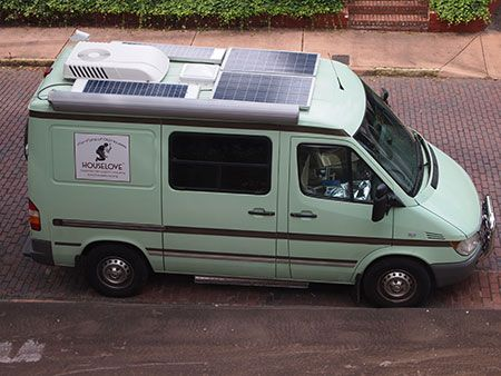 House Love Camper Van - different size solar panels on roof