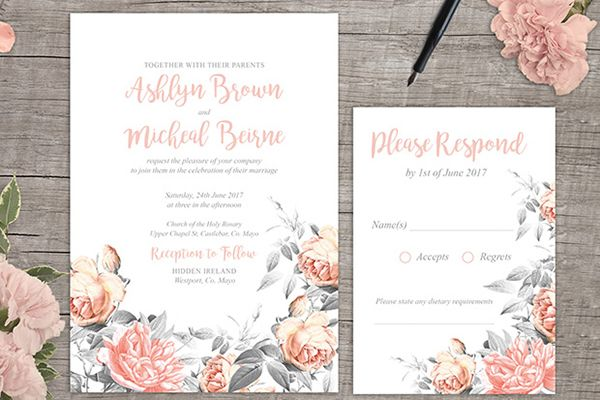 """Making your own invitations might seem overwhelming, but it's totally doable even if you're not the crafty type when you've got a template as resourceful as this one from  Appleberry Press for One Fab Day. The """"Rosa Romance"""" floral invite is editable in Adobe Acrobat, and you can send the finalized file to a professional printer nearby if yours isn't up to snuff for the task.Download the free printable here ►"""