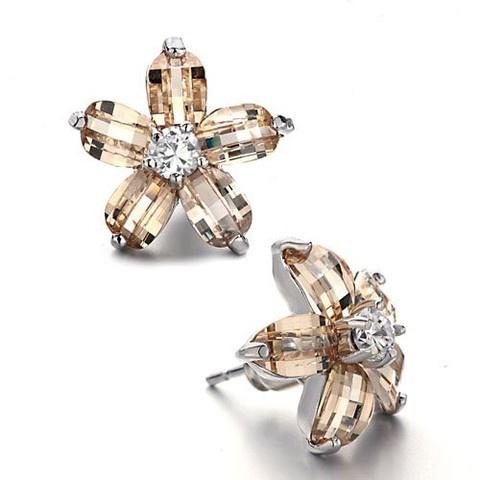 Light Citrine Topaz Swarovski Crystal Flower Earrings  Retail $28.99 Our Price $23.99