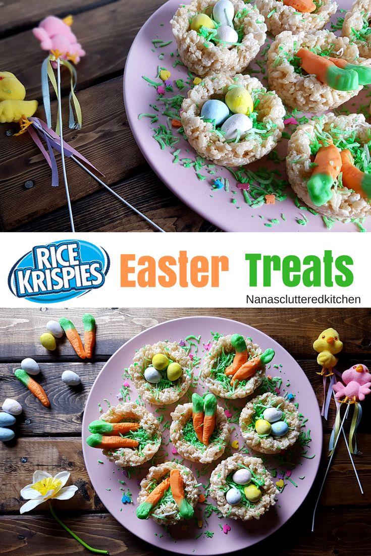 Rice Krispie Easter Nests & Baskets (mini eggs)