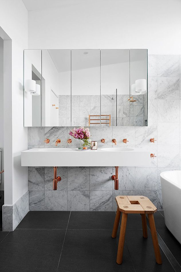 marble and copper bathroom on abudget and avises on how to get marble tiles and copper accessories and create stylish bathroom