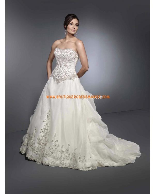 Robe de mariée star bustier broderie cristal satin organza