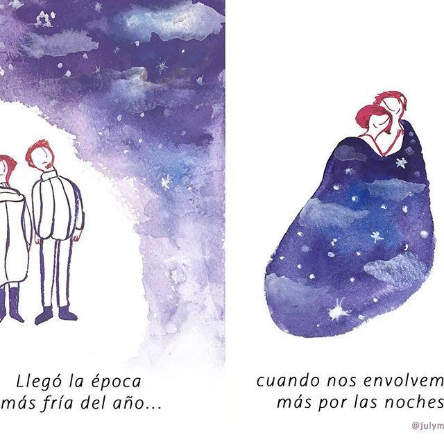 Invierno /Winter #100dayproject 33/100  Citando al ilustrador Troche :). #100daysofmotivationforillustration #winter #couple  #comic #historieta #instart #drawing #gouache #picsart #cold #illustration #invierno #frío #noches