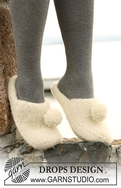"Ravelry: 104-10 Felted slippers in 2 threads ""Eskimo"" pattern by DROPS design"