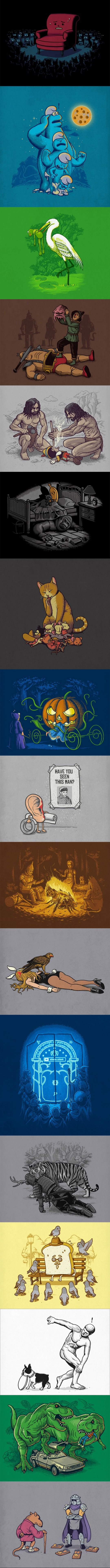 Cartoons by Ben Chen // Who said cute cartoons cannot be terrifying? Check these! #pics #cartoons #kindofhilarious