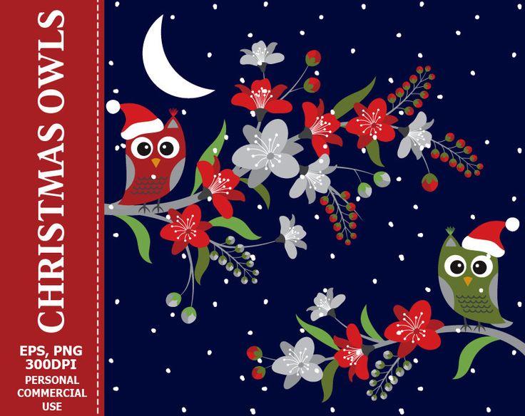 70% OFF SALE Christmas Owls Clip Art - Flowers, Branches, Owls, Christmas, Night, Snow, Xmas Clip Art