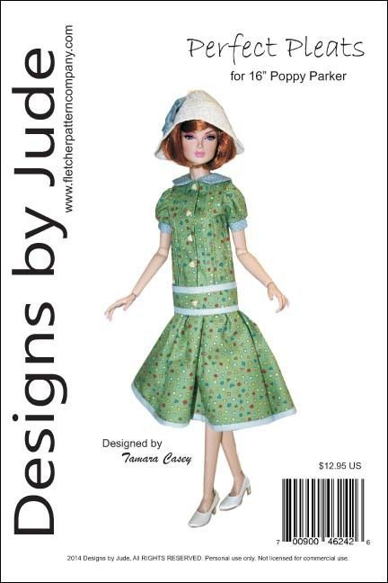 Perfect Pleats, the pattern includes a short sleeve pleated front dress with ruffle, tights and hat.