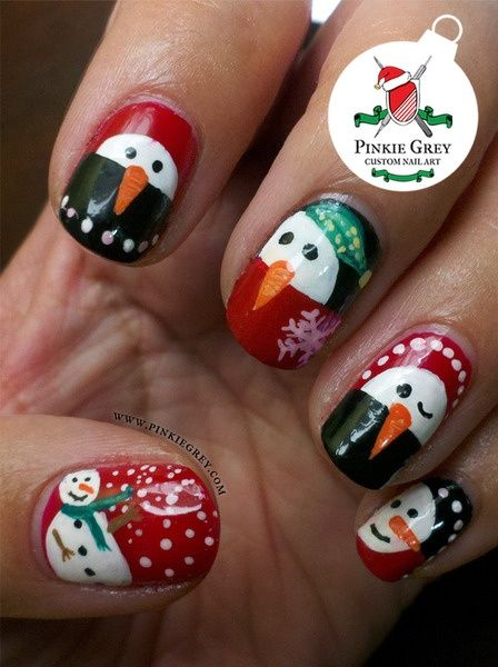 Best 25 snowman nails ideas on pinterest snowman nail art easy snowmen nails winter christmas nail art prinsesfo Images