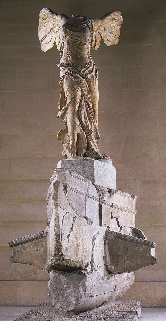 "Nike (Victory) of Samothrace, from the Sanctuary of the Great Gods 300-190 BCE. Made during Hellenistic Time  of marble and stands 8""1' tall."
