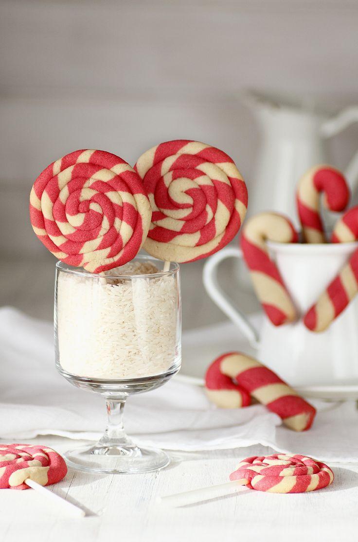 Galletas bastones y espirales de Navidad