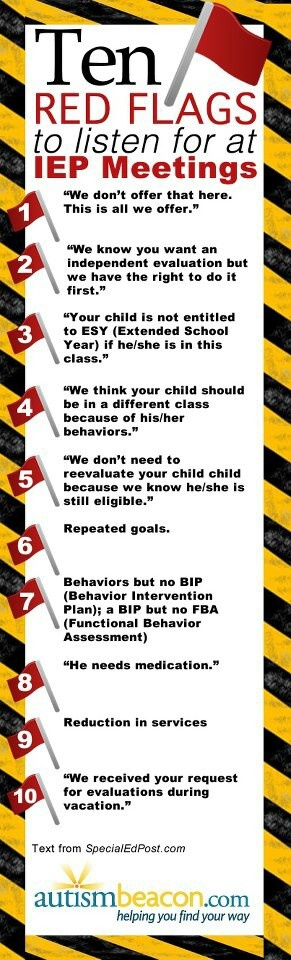 IEP Meeting Red Flags - wish I had this when the boys were still in public school!