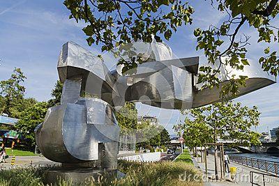 Modern art on the street Quai du Seujet in Geneva , Switzerland.