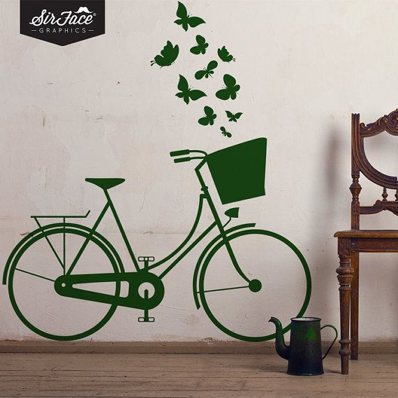 Vintage+Dutch+Bike+Wall+Decal++Bicycle+Wall+by+SirFaceGraphics,+£28.00