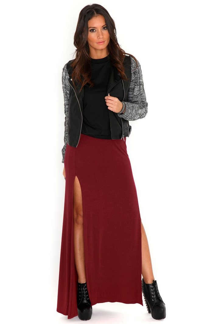 Madalyn Double Split Maxi Skirt In Burgundy- Gorgeous take on the classic maxi #MGWinterWardrobe