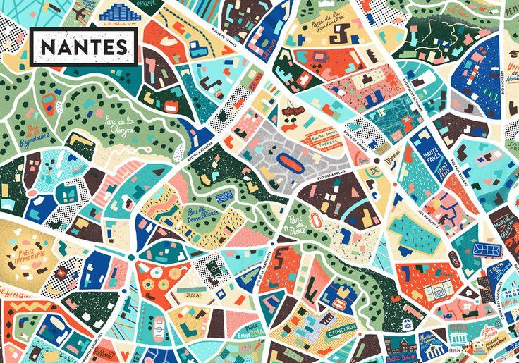 Map of Nantes - Antoine Corbineau  Cartographie créative #graphisme
