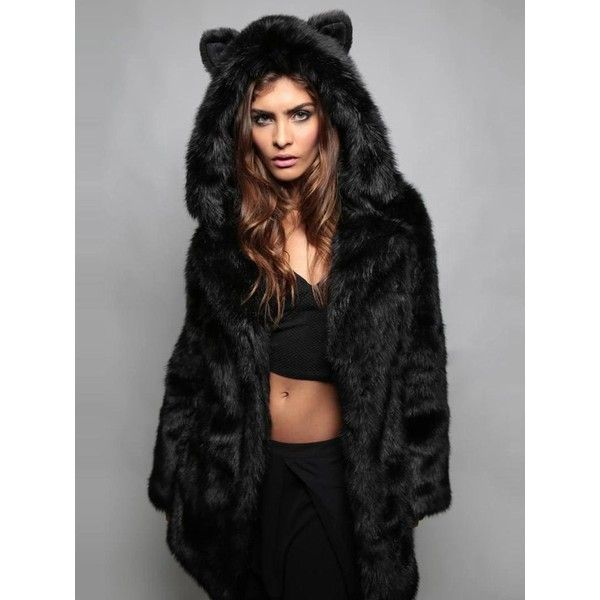 Black Cat Ear Detail Hooded Faux Fur Coat ($78) ❤ liked on Polyvore featuring outerwear, coats, faux fur hooded coat, imitation fur coats, faux coat, hooded coat and fake fur coats