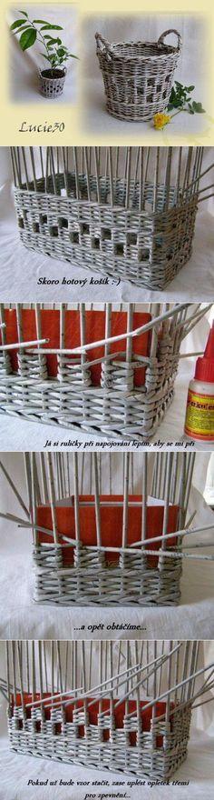Уроки плетения из газет: интересный узор в технике плетения из газет -   Плетение из газет   Постила