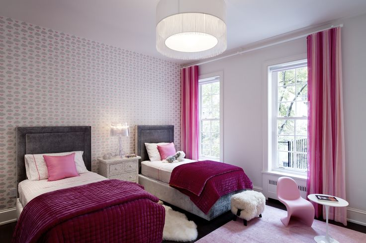 DHD Architecture + Interior Design in NYC - Upper West Side Townhouse Kid's Bedroom - Bright Pink and Magenta Colors + Wallpaper and Window Treatment + Custom Beds