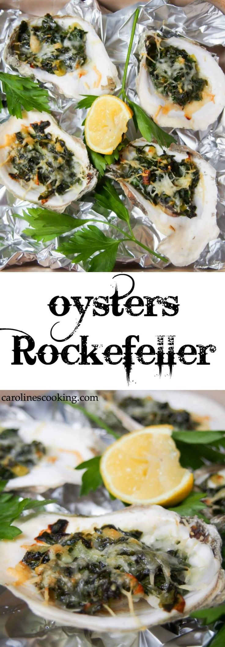 Oysters Rockefeller are a classic New Orleans appetizer. Here they're lightened up but packed with flavor in the spinach-based topping. Perfect for date night, a fancy dinner party or any excuse. Includes video tutorial with how to shuck an oyster. #SundaySupper
