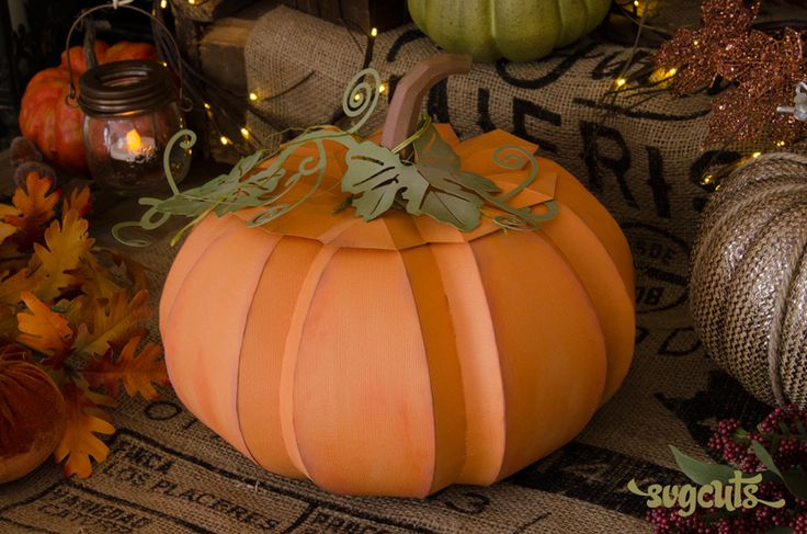 New large paper pumpkin from the harvest sunset svg kit