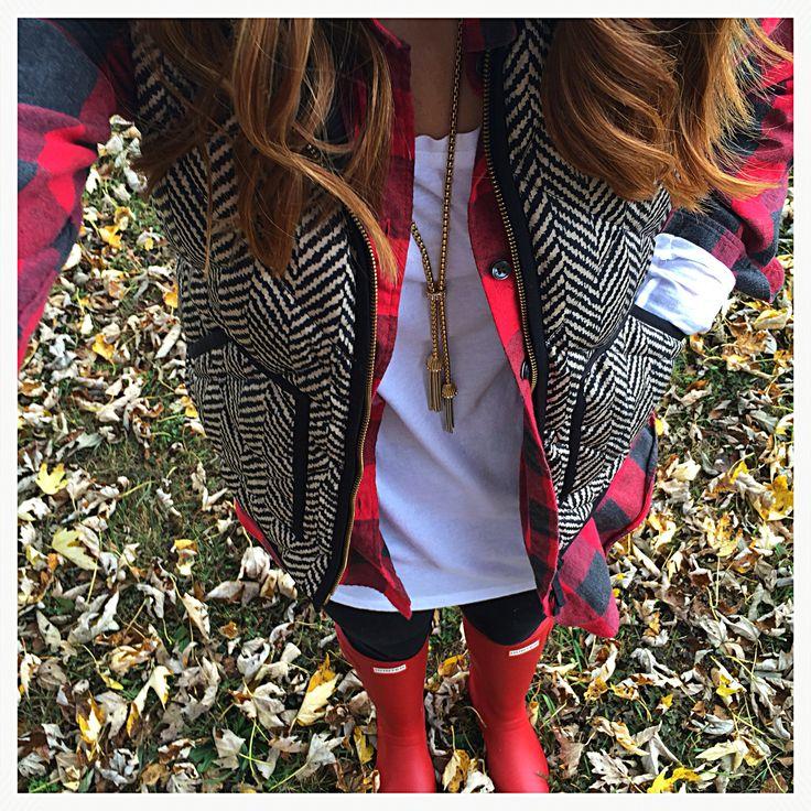 Red hunter boots herringbone vest