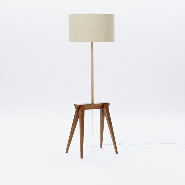 West Elm Michael Robbins Sawhorse Floor Lamp, Walnut/White Linen -... ($399) via Polyvore featuring home, lighting, floor lamps, craftsman style lamps, arts and crafts lighting, craftsman floor lamp, craftsman lighting and west elm lamps