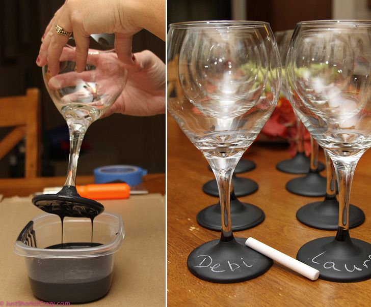 Chalkboard dipped wine glasses allows you to add the person's name who is using the glass then re-do it for another party. This way there are no confusion on who's glass is who's!