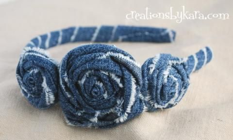 Dollar Store Denim Rosette Headband