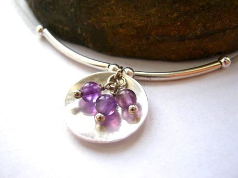 """Álomfürt - ezüstözött nyakék ametiszttel, 45 cm Ékszer, óra, Nyaklánc, Meska / Silver filled necklace with amethyst 18,5"""""""