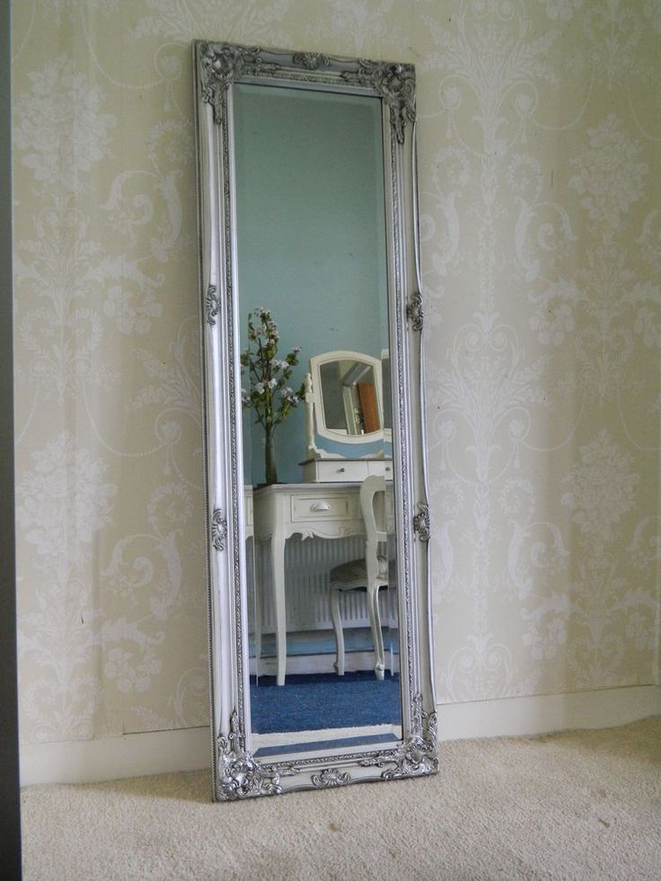 Large Silver Ornate Tall Long Mirror Hallway Bedroom Chic