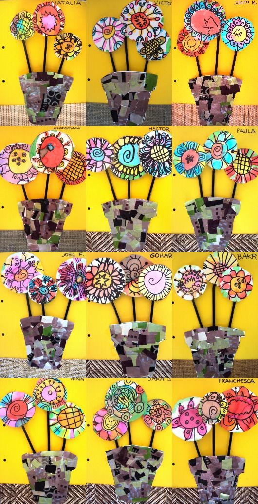 Plastic: Spring flowers using scraps of wrapping paper and wallpaper, yellow paper, and paint