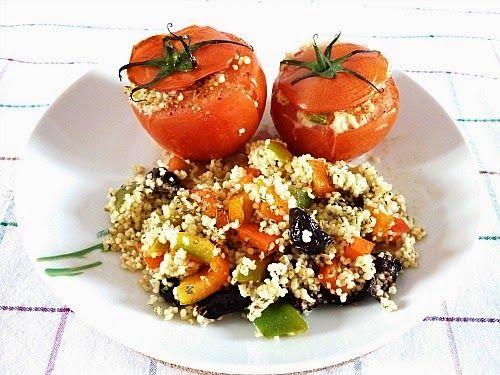 Mediterrean stuffed tomatoes . Pomodori ripieni alla mediterranea