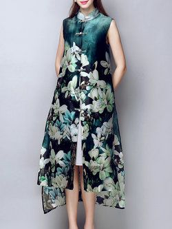 Multicolor Printed Silk Crew Neck Sleeveless Coat re-pinned by www.theleafypaw.com