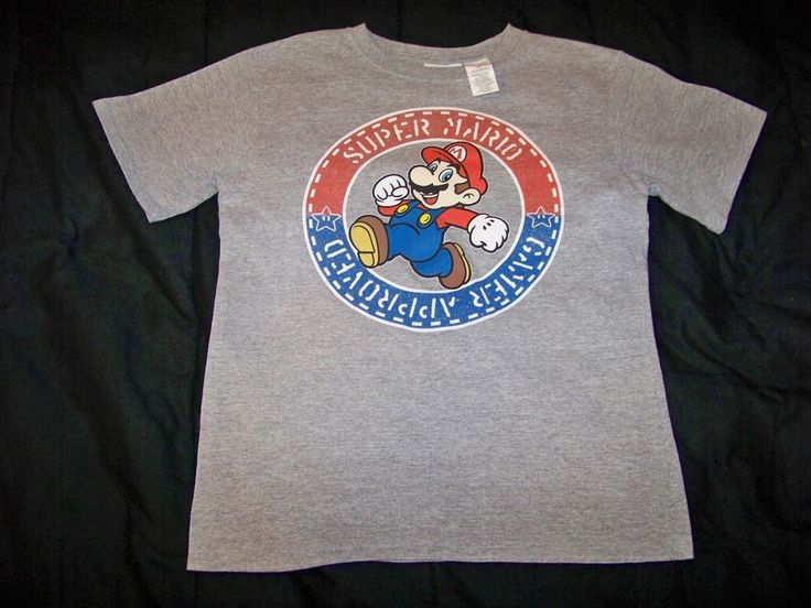 Boy's XL Grey Youth Short Sleeve Shirt 90% Cotton 10% Polyester #Nintendo #Everyday