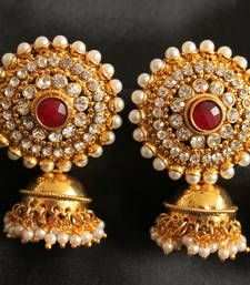 Buy Gorgeous goldplated royal red jhumkkas jhumka online