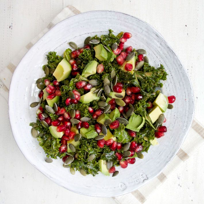 "Marinated Kale Salad  -  find the recipe on Deliciously Ella . She says ..."" This kale salad is one of my all time favourite things, I eat it with almost everything! I know lots of people think the whole massaging kale thing is a little strange though so I've made a video for you all to show you what I mean """