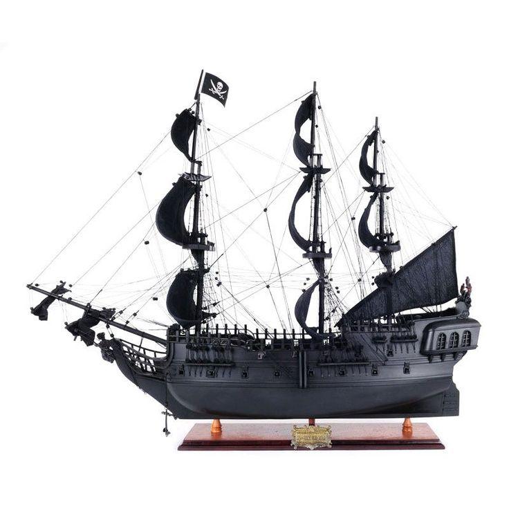 Old Modern Handicrafts Medium Black Pearl Pirate Ship Figurine (Black)