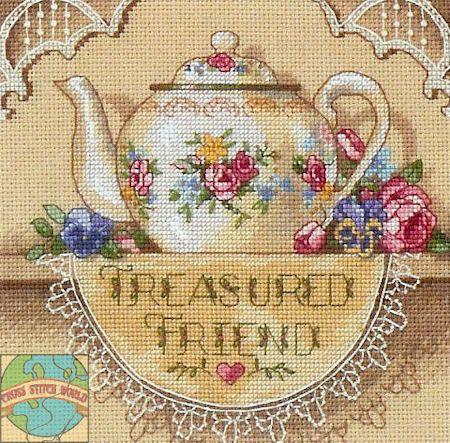 Gold Collection Petites - Treasured Friend Teapot - Cross Stitch World