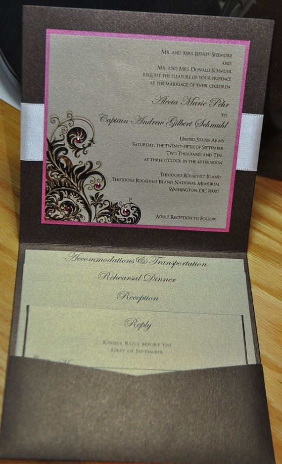 Pocket Fold Wedding Invitation Modern Pocket by trendytreasure, $5.00