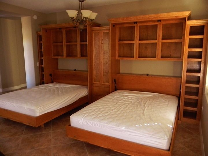 murphy beds wall beds interesting double queen murphy beds with closet and tons of storage. Black Bedroom Furniture Sets. Home Design Ideas