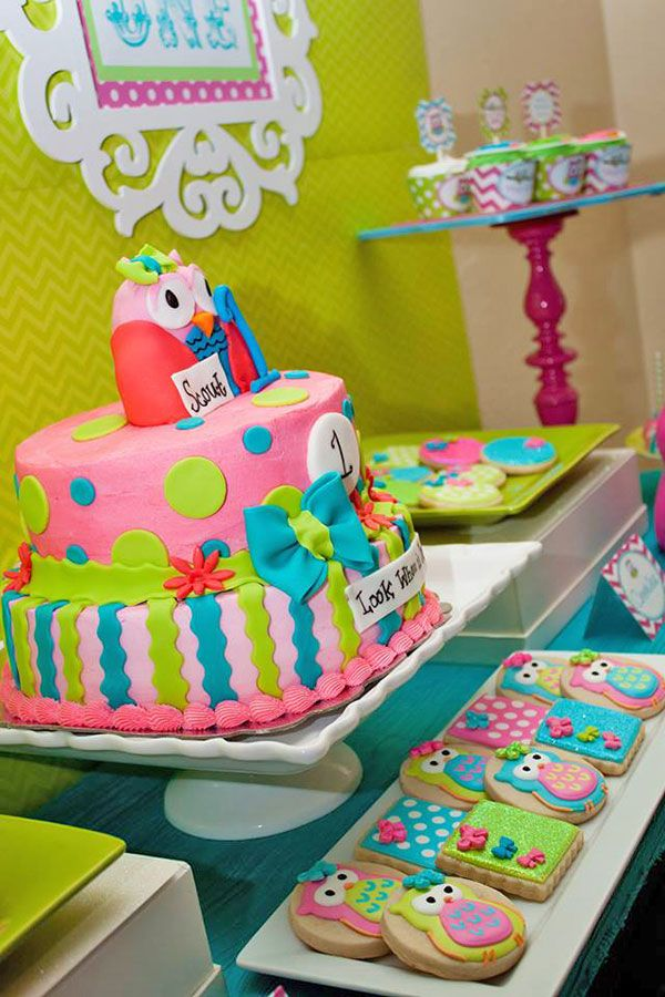 Colorful owl birthday party. We love this bright, cheery owl birthday cake.
