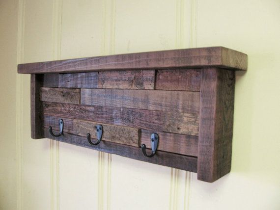 Barn Wood Shelf Rustic Key Holder Coat Rack by Rustastic on Etsy