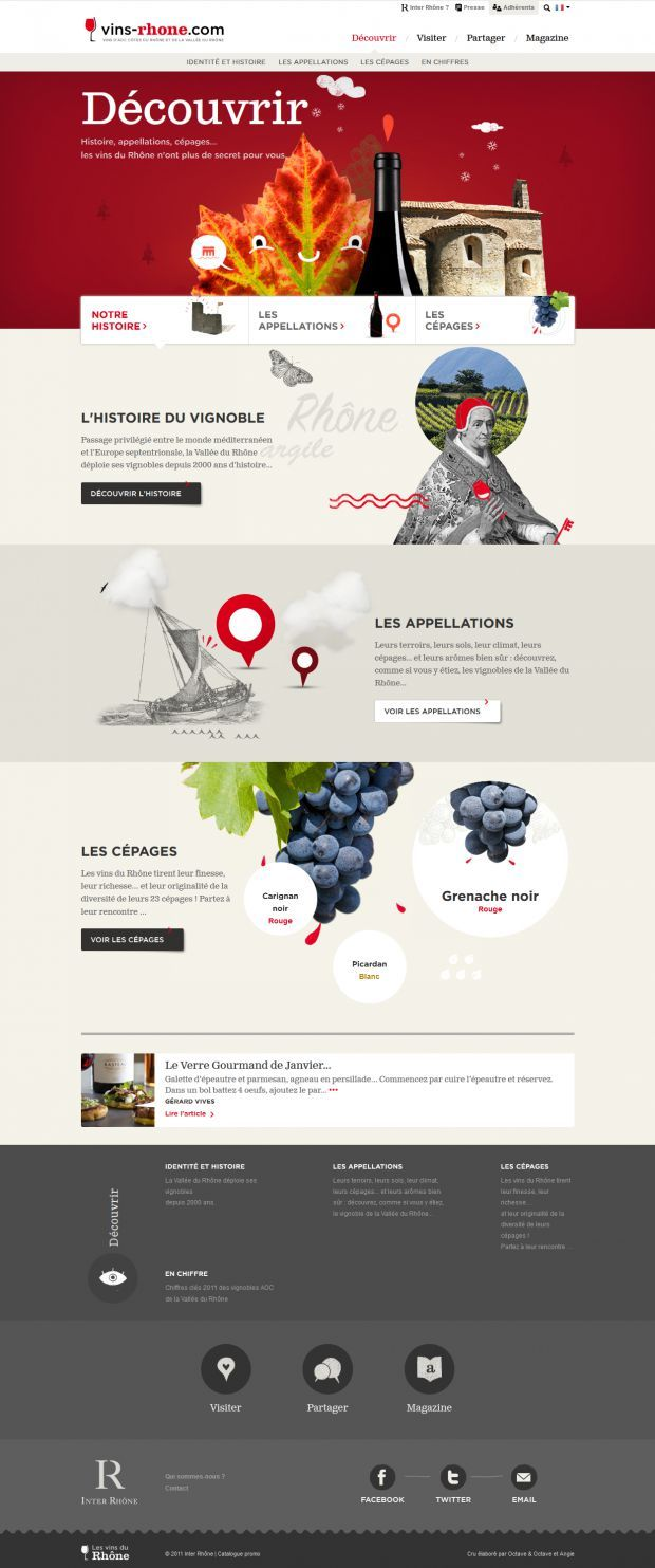 Vins Rhone - Cotes du Rhone and Rhone Valley AOC wines - #Webdesign #inspiration www.niceoneilike.com