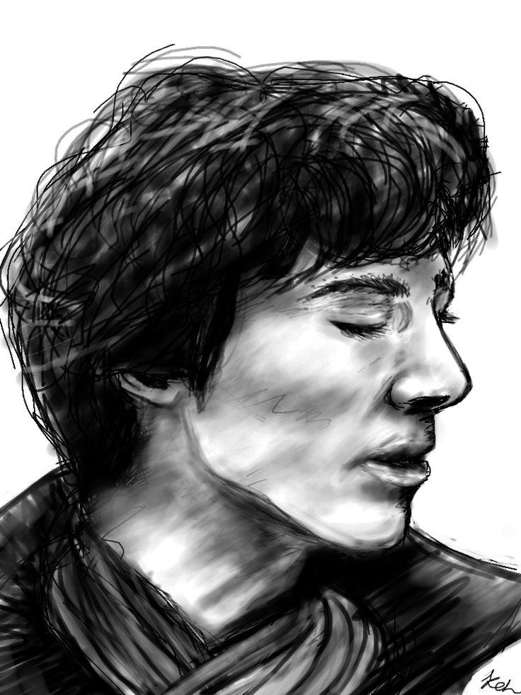 Sherlock, Sherlock Holmes, benedict cumberbatch, BBC, digital drawing, drawcast, fan art, black and white, drawing, art