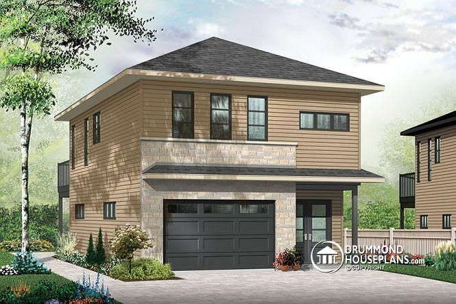 W3954 v2 contemporary style garage apartment house plan for Open floor plan garage apartment