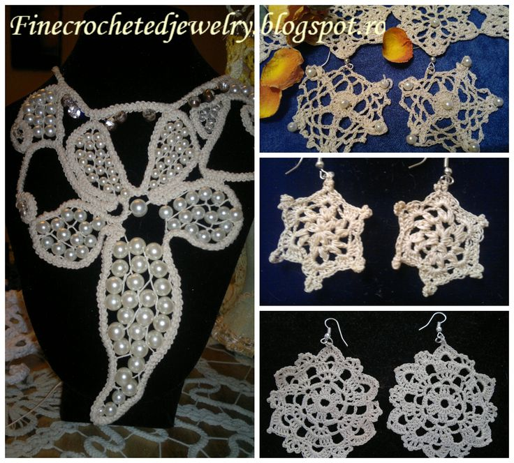 Crochet earrings and pearl necklace