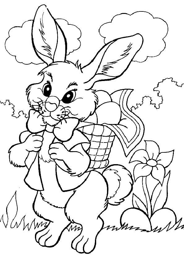 Кролик с морковкой картинка раскраска
