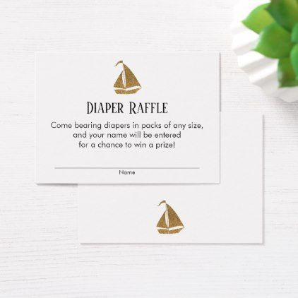 Gold Glitter Sailboat Diaper Raffle Ticket Cards - baby shower gifts  party giftidea