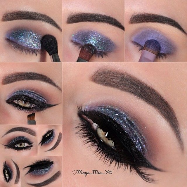 Pictorial ✨NYE Makeup idea ✨ used @Motivescosmetics     1.Apply Glamour on the lid  2.Add Moondust glitter on the lid  3.Apply Cappuccino in the crease   4.Line the lids using LBD gel liner and apply black eyeliner pencil  - @maya_mia_y
