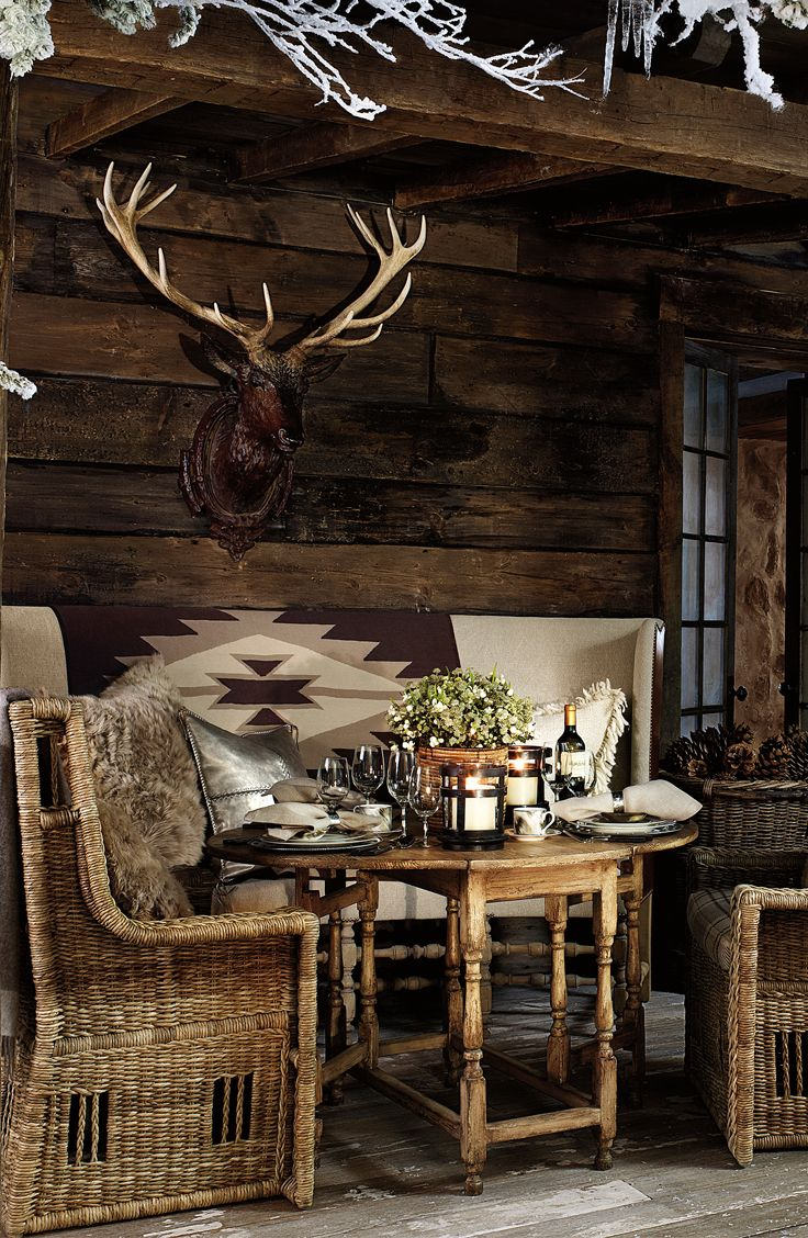 Ralph Lauren Home's Alpine Lodge collection provides gorgeous outdoor dining - the perfect setting for an apres ski